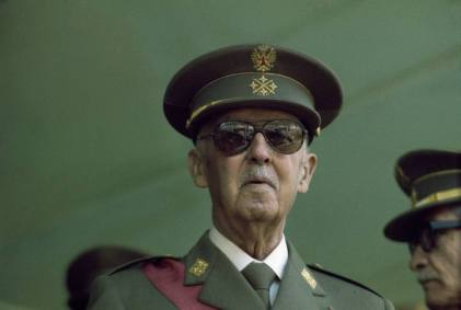 Francisco Franco the dictator with military uniform in a 1975 image