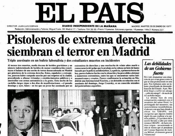 Atentado Atocha EL PAÍS 25 enero 1977 portada.jpg