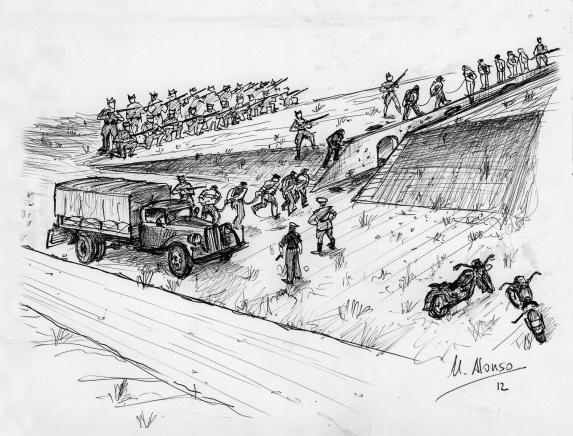 Dibujo de como funcionaba la máquina de matar en Paterna, Memoria de la represión franquista